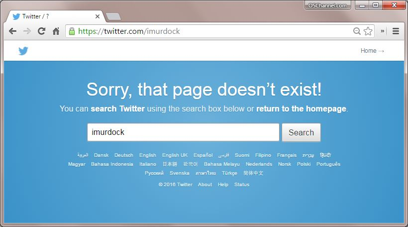 Snapshot of Ian's Twitter Page missing