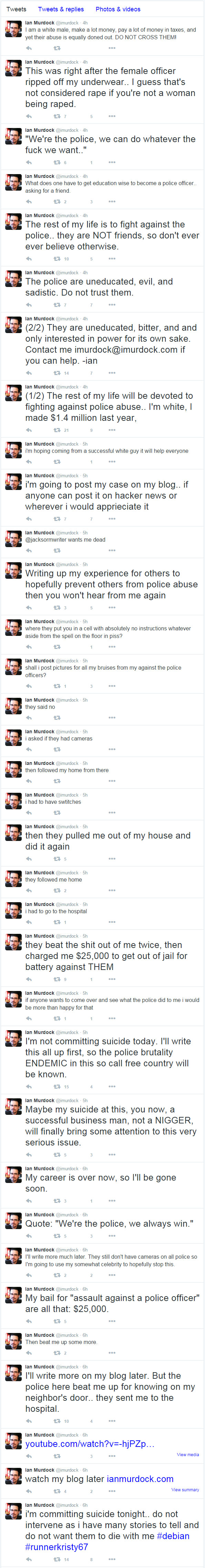 Image of tweets from Ian Twitter account which has been deleted since his death.